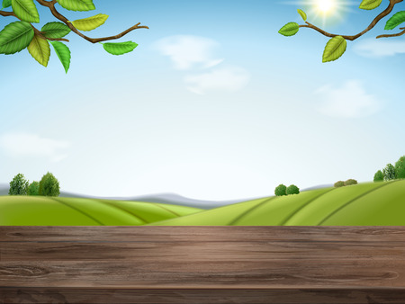Natural green field illustration
