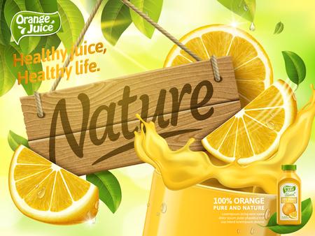 オレンジ ジュースの広告  イラスト・ベクター素材