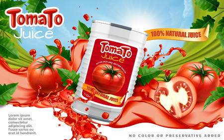 Tomato juice ads Vectores