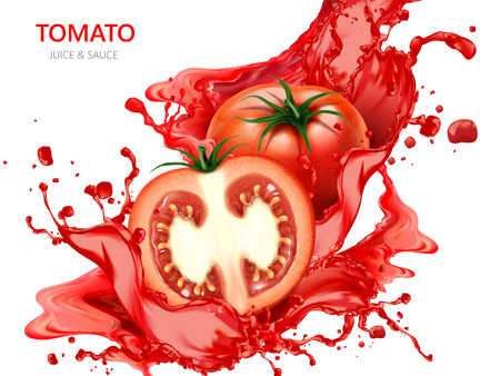 Fresh tomato with juice illustration