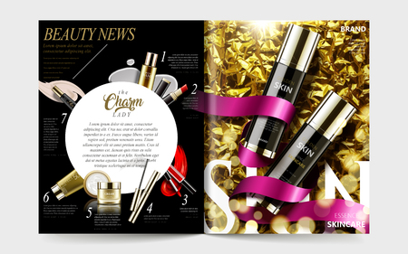 Cosmetic magazine template, gorgeous product on golden creased paper with ribbons and other products listed on the left page, 3d illustration