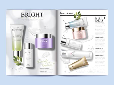 Plantilla de revista cosmética, productos refrescantes para el cuidado de la piel con texturas aisladas sobre fondo blanco en ilustración 3d Foto de archivo - 89700322