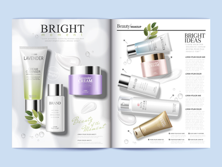 Cosmetic magazine template, refreshing skin care products with textures isolated on white background in 3d illustration Illustration