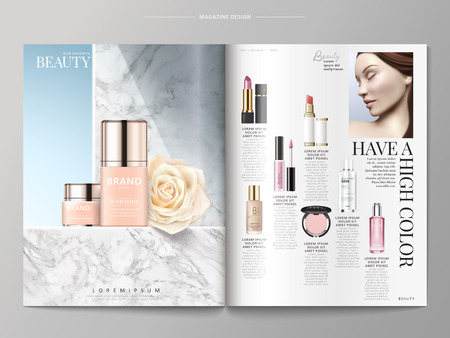 Cosmetic magazine template, foundations placed on marble wall, products listed on the right side, 3d illustration