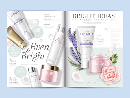Cosmetic magazine template, skincare products with texture and floral elements in 3d illustration Stok Fotoğraf - 89701444
