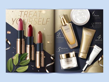 Plantilla de revista cosmética, vista superior de productos de maquillaje y cuidado de la piel en el fondo geométrico, ilustración 3d