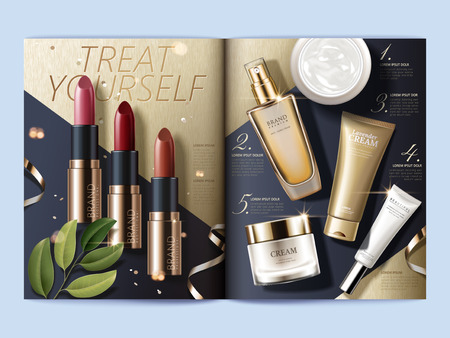 Cosmetic magazine template, top view of makeup and skincare products on geometric background, 3d illustration