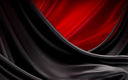 Luxury black and red satin, silk fabric background in 3d illustration, drapes down from top Illusztráció
