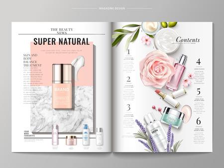 Kosmetische Zeitschriftenschablone, Draufsicht der Behälter- und Cremebeschaffenheit lokalisiert auf Marmor und geometrischem Hintergrund, Produkte listete auf der rechten Seite, Illustration 3d auf