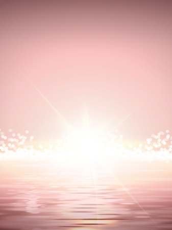 Elegant Sun rise scene, shimmering ocean and bright sun light in pink tone Illustration
