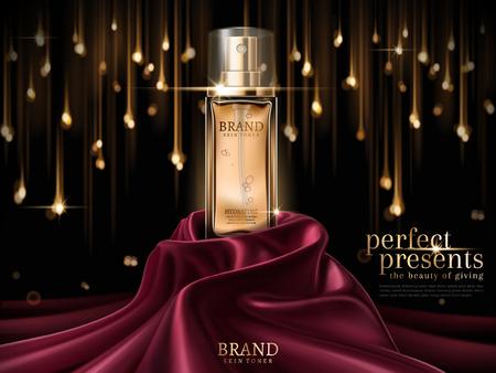Annonces de luxe peau toner, bouteille en verre premium ou parfum sur satin écarlate isolé sur fond d'ampoule bokeh en illustration 3d