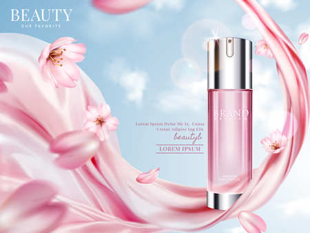 Rose toner ads, elegant cosmetic advertising with cherry blossom petals and pink chiffon in 3d illustration, blue sky background Stock fotó - 89702163