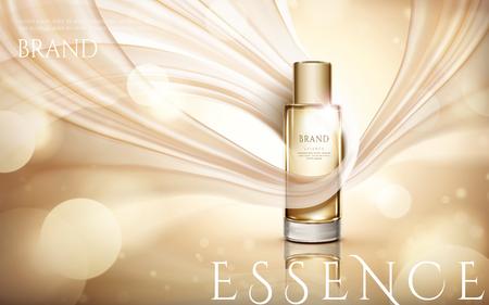 エレガントなエッセンス広告、3d イラスト、ガラス瓶に輝く背景になびくシフォンとシャンパンゴールドトーン