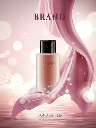 Elegant foundation ads, cosmetic container with silky satin or chiffon isolated on glittering ocean background in 3d illustration, foundation in French under the bottle