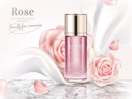 Anuncios de tóner rosa, elegante publicidad cosmética con pétalos de rosas y gasa blanca perla en ilustración 3d
