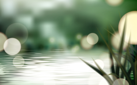 Bokeh lake or pond scene, refreshing nature background with glittering spots and grass in 3d illustration Illustration