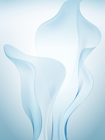 Light blue chiffon elements, soft fabric design elements in 3d illustration
