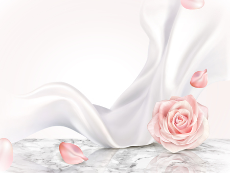 Elegant decorative background, roses petal and pearl white chiffon elements on marble table in 3d illustration