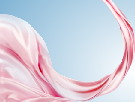 Elegant chiffon design elements, pink fabric flying in the blue sky in 3d illustration