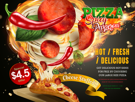 Mouthwatering pizza ads, Cheese pepperoni pizza with stringy cheese and delicious toppings flying out with fire and chili, 3d illustration Illustration
