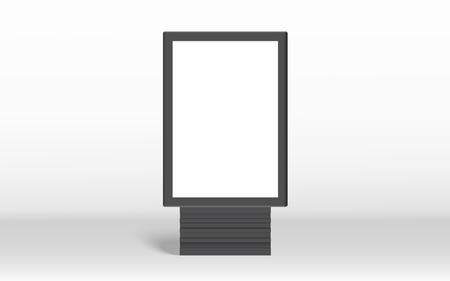 Blank vertical billboard, black frame with empty space for editing in 3d illustration isolated on gray background