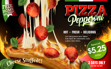 Mouthwatering pizza ads, Cheese pepperoni pizza with stringy cheese and delicious toppings isolated on flaming background, 3d illustration Illustration