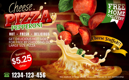 Mouthwatering pizza ads, Cheese pepperoni pizza with stuffed cheese and flying toppings isolated on red brick wall and wooden table, 3d illustration Vettoriali
