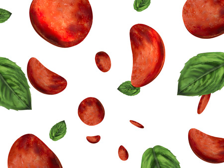 Pizza toppings wallpaper, pepperoni and basil elements falling down from sky in 3d illustration, white background