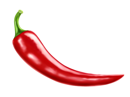 Red chili element, close up look at realistic pepper chili isolated on white background in 3d illustration