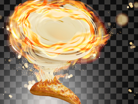 Savoury cheese pizza, Slice of pizza with stringy cheese and fire effects in 3d illustration isolated on transparent background