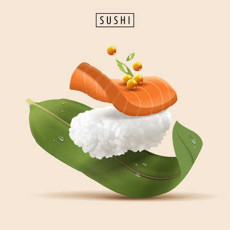 Salmon Sushi elements, realistic refreshing sushi with raw fish and fish roe in 3d illustration Vectores