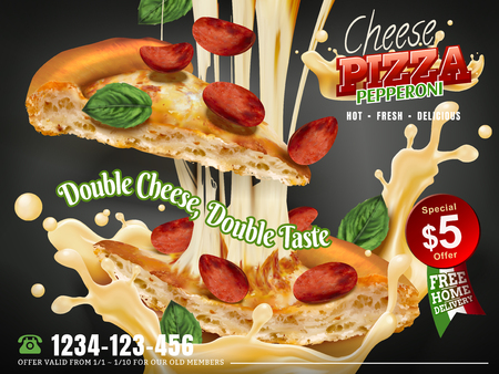 Mouthwatering pizza ads, Cheese pepperoni pizza with stringy cheese and flying toppings isolated on grey background, 3d illustration Illustration