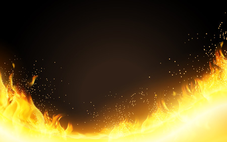 Realistic Burning Fire background, glitter flame effect in 3d illustration