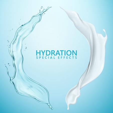 水和液効果、3Dイラストで青い背景に分離された水しぶきクリームと液体テクスチャ 写真素材 - 93650698