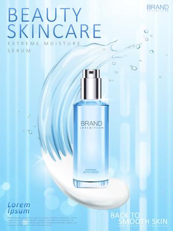 Moisturizing skincare toner ads, blue spray bottle with cream and liquid mix texture in 3d illustration  イラスト・ベクター素材
