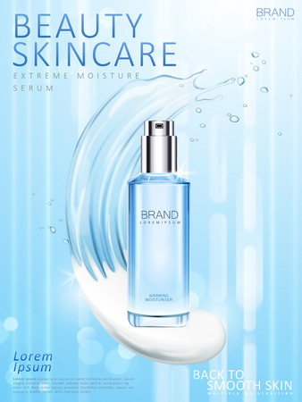 Moisturizing skincare toner ads, blue spray bottle with cream and liquid mix texture in 3d illustration Vettoriali