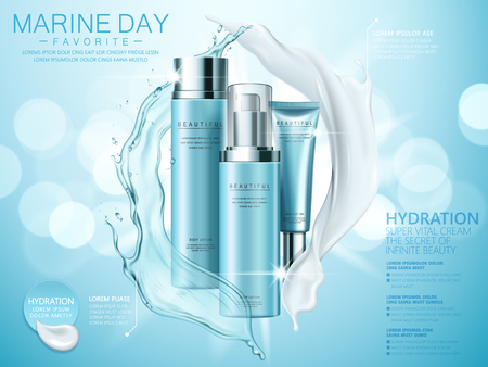 Hydration product ads, splashing cream and liquid texture with cosmetic set isolated on blue bokeh background in 3d illustration