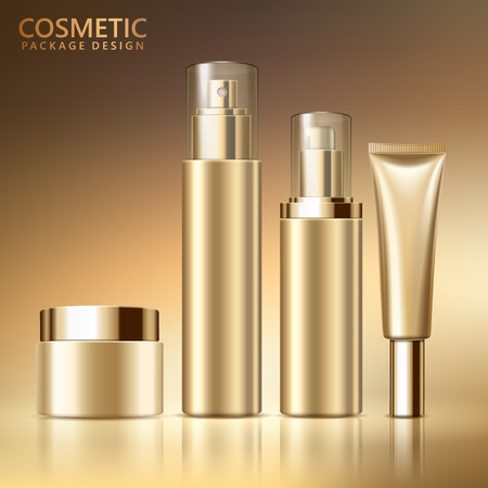 Conjunto de diseño de paquete cosmético, maqueta de envases cosméticos en blanco para usos de diseño en tono de color dorado, ilustración 3d