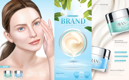 Skin care ads, moisturizing cream serum with an elegant model in 3d illustration