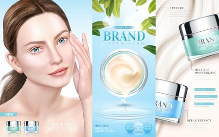 Annunci di cura di pelle, siero crema idratante con un modello elegante nell'illustrazione 3d Archivio Fotografico - 93650712