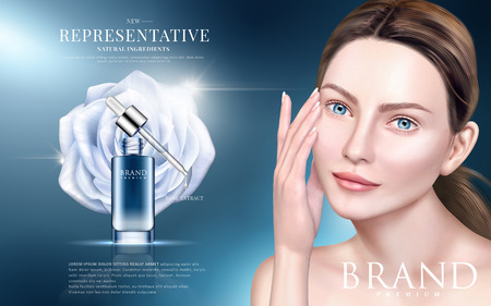 Skin care ads, rose extract in droplet bottle with an elegant model in 3d illustration