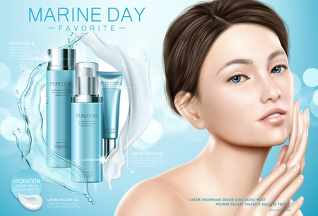 Skin care ads, attractive model with blue moisture cosmetic set, splashing cream and liquid texture in 3d illustration Vectores