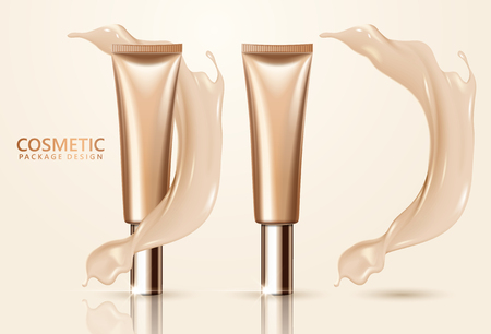 Cosmetic package design set, blank foundation tube mockup for design uses in complexion color tone, 3d illustration