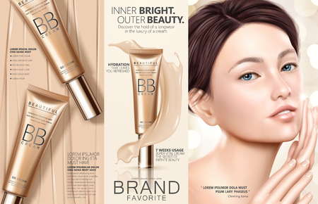 Trendy foundation ads, attractive model with foundation tubes and creamy texture, in 3d illustration