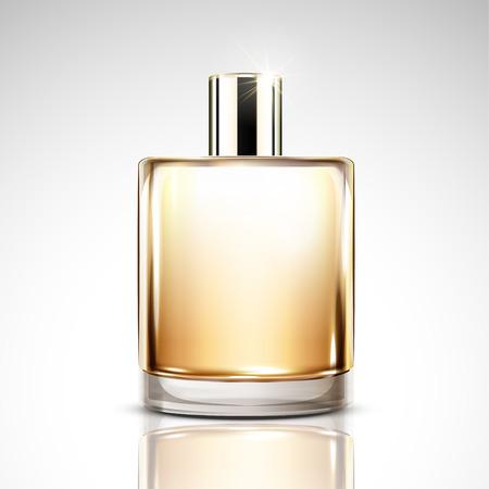 Perfume bottle mockup, blank cosmetic glass bottle in 3d illustration for design use