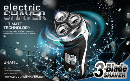 Electric shaver ads, shaver with splashing water and light effect in 3d illustration Çizim