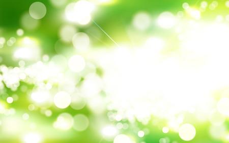 Green bokeh background, morning park scene with strong sunbeam in 3d illustration Çizim