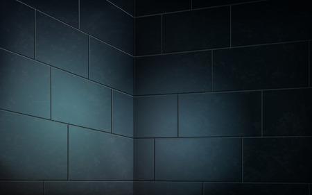 Dark blue brick wall, abstract interior scene for decoration in 3d illustration