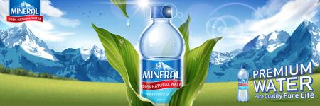 Conception d'affiche de publicités sur l'eau minérale