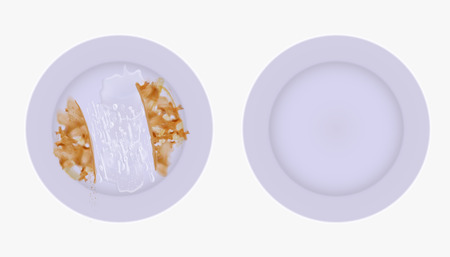 Clean and dirty set of plates Illustration